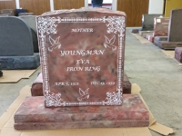 Upright headstone with extra engraving