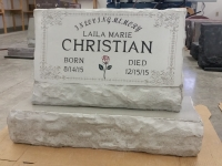 Slant headstone with extra engraving add on