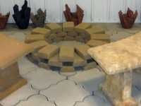 Benches with firepit